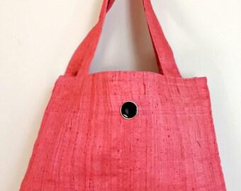 Pink Tote Bag, fabric tote bag, small tote
