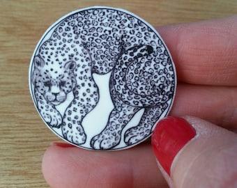 Pin Brooche bubble snowleopard