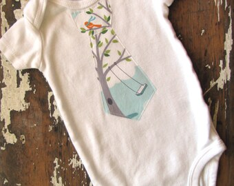 Necktie Applique Bodysuit - Windy Day Backyard Baby with Trees, Swing and Puppy Dog - Short or Long Sleeve White - Baby Boy