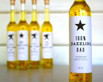 "Gift for Dad ""100% Dazzling Dad"" 23 Carat Gold Infused - Australian Olive Oil, Gift idea for Fathers, Father of the Bride Gift, Fathers Gift"