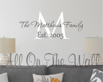 Family Name Wall Decal Last Name Decal Est Date Personalized Family Wall Decal Family Vinyl Lettering Wedding Decals Personalize Monogram