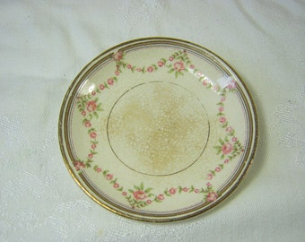 Antique IRONSTONE BUTTER PATS Set/4 Salt Dish Circa 1900s Dainty Pink Rose Garland Design