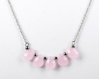 Rose Quartz Teardrop Bar Pendant Necklace