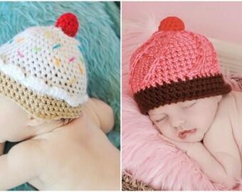 Newborn Twin Ice Cream Cupcake Prop Hat Set - Photographer Deal Dessert Sweet Shop Baby Girl Photo Props Crochet Beanie