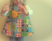 baby and toddler reversible pinafore | vintage scandi floral | handmade by little ticket