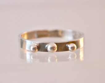 "sterling silver stacking ring.  3 fine silver balls.  size 8  ""Three's a Charm"""