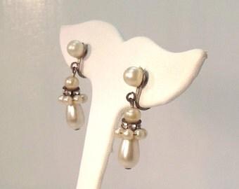 Vintage Screw Back Earrings Rhinestone Rondelle Pearl 60's (item 137)