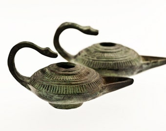 Bronze Oil Lamp, Ancient Greek Miniature Oil Lamp, Bronze Sculpture, Museum Quality Art Sculpture, Collectible Art