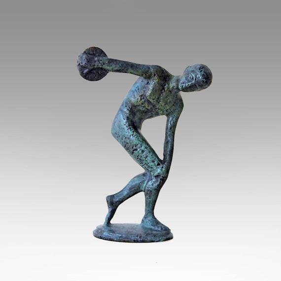 Bronze Discus Thrower Sculpture, Greek Athlete Statue, Ancient Greece Olympic Games, Discobolus, Metal Sculpture, Art Decor, Museum Replica