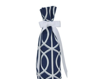Wine Bottle Gift Bag - Navy & White Dwell Studio Fabric
