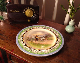 Antique Royal Winton Grimwades Plate Old English Coaching Scenes Series Woodland