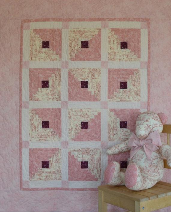 CUSTOM ORDER for JOAN: Anna - Pink Toile Log Cabin Crib Quilt