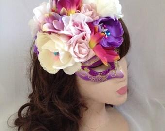 Pastel Flower Rhinestone Masquerade Mask Fascinator