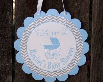 Carriage Baby Shower Door Hanger - Baby Boy Shower Decorations - Blue & Grey - DIY Printable PDF File