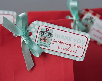 Bun In The Oven Baby Shower Favor Tags - Thank You Tags - Red & Mint - PERSONALIZED