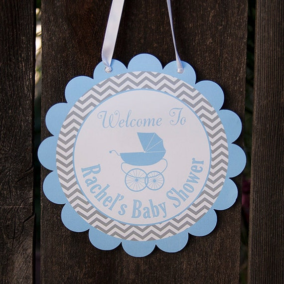 Carriage baby shower door hanger baby boy shower decorations for Baby boy door decoration