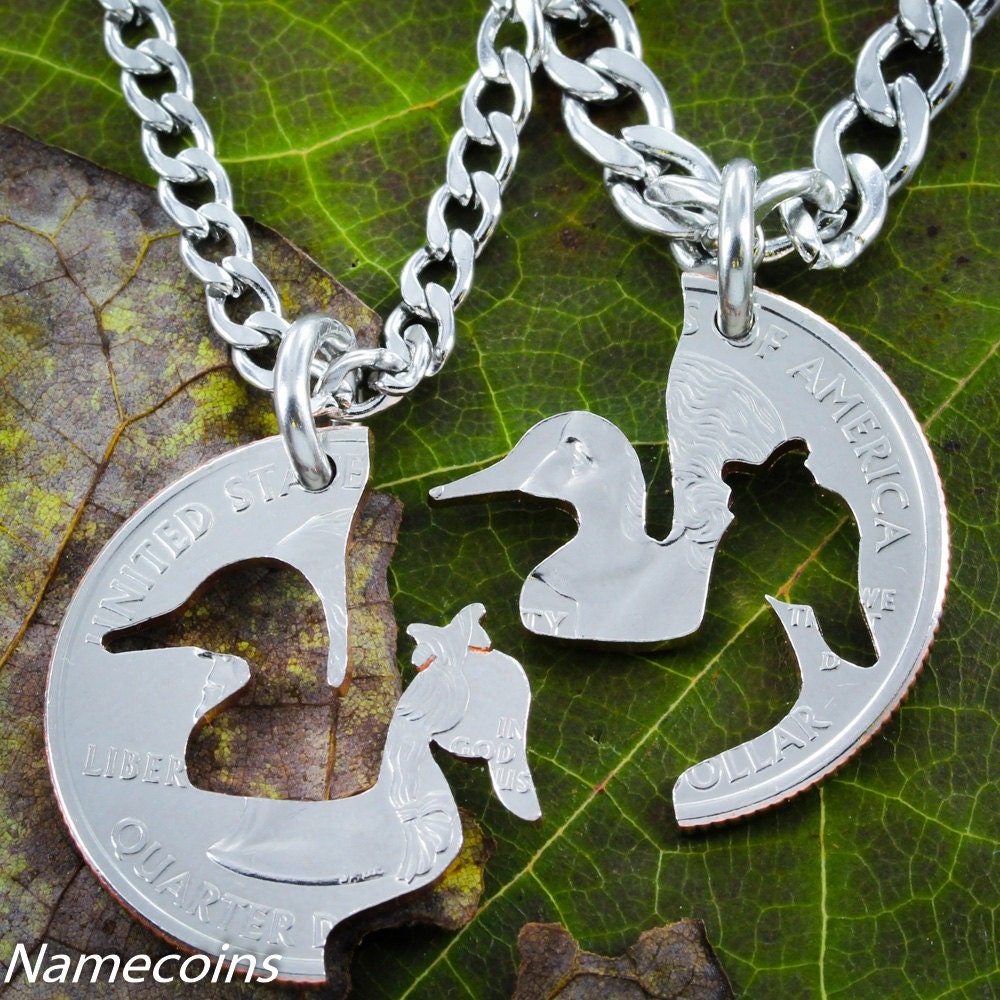 Duck Necklaces couples necklaces His and Hers necklaces cut