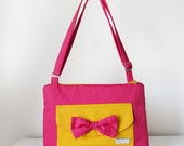 Pink and Yellow Medium Shoulder Handbag with Bow Block Colours Adjustable Strap for Cross Body and Pockets