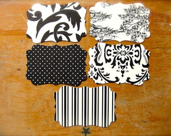 Romantic French Scrolled Gift Tags-Black & Cream Blank Labels-Lot of 25-Polka Dots, Flowers, Nautical Stripes, Scenery-Rustic Wedding Prints