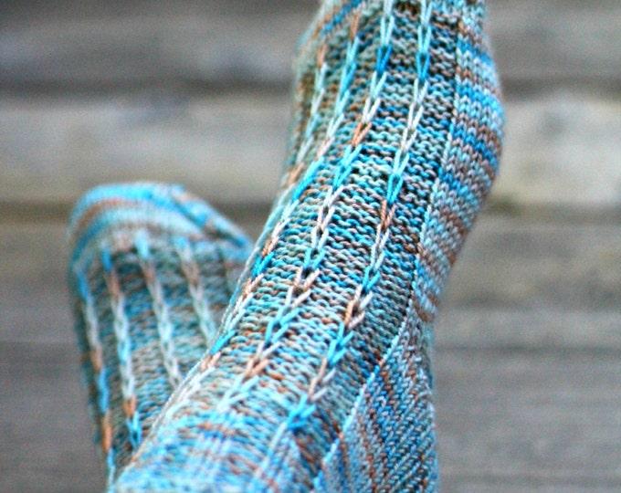 Knit socks for women, knit leg warmers, knitted socks, blue knit socks, gift for her