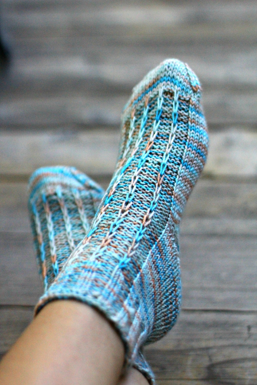 Knitting Women S Socks : Knit socks for women leg warmers knitted blue
