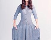 Cotton Knitted Maxi dress - Big pockets Long dress  - Buttoned Long Knit - G-047