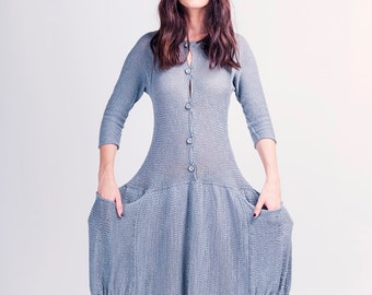 Cotton Knitted Maxi dress - Big pockets Long dress  - Buttoned Long Knit - G-047