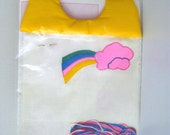 Vintage Kit -  Baby Bib - Pink Cloud & Rainbow - Cross Stitch - 1980's - Retro Stitchery Kit