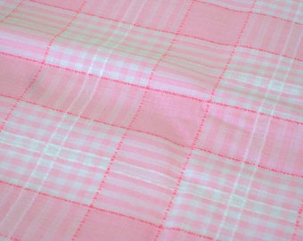 "Vintage Fabric - Pink & White Plaid - By the Yard x 44""W - 1970's - Retro - Sewing Material - Craft Supply - Yardage"