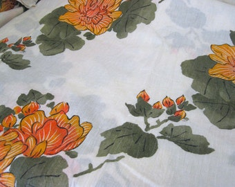 "Vintage Fabric - Boho Chic Orange Floral - Crinkle Gauze - By the Yard x 46""W - Retro - Sewing Material - Craft Supply - Yardage"