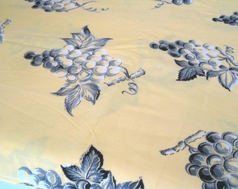 "Vintage Fabric - Grape Bunches - Gray on Yellow - By the Yard x 36""W - 1950's - Retro - Sewing Material - Craft Supply - Yardage"