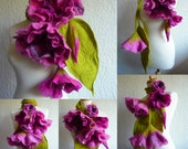 felted scarf necklace flower, felted flower necklace, felted wool, art to wear scarf, lariat, pink,MADE TO ORDER lagenlook, layering look