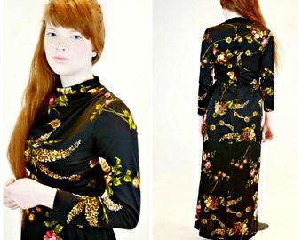 1970s Floor Length Floral Dress