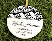 Our First Christmas Newly Engaged Ivy Ornament - To Be Married - Personalized Porcelain Holiday Ornament - orn15 - Peachwik -  Custom Colors
