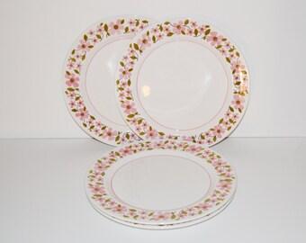 Pink Daisy Plates, Mikasa Plates, Mikasa Daisy Plates, Mediterrania Petals Pattern, Set of 4 Plates, Pink Daisy Plates,