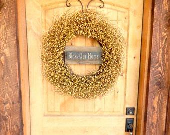 Fall Door Wreath-Large Yellow Wreath-Farmhouse Decor-DOOR SIGN-Housewarming Gift-Wedding Gift-Farmhouse Home Decor-Scented Wreath-Gifts