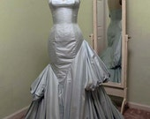 Formal Gown, Wedding Gown, Asymetrical, Silk, Mermaid Gown in Light Blue. Custom Made, More Colors Available. Sizes 2-20
