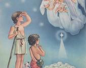 1944 ANGELS SHEPHERDS STAR Bethlehem Baby Jesus Christ Lithograph Christmas print Nursery decor baby boy Religious print Christian print