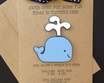 Whale Party Invitations - Whale Birthday - Whale Shower