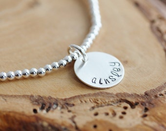 Personalized Silver Name Bracelet - Adjustable, Hand Stamped - Leigh Bracelet
