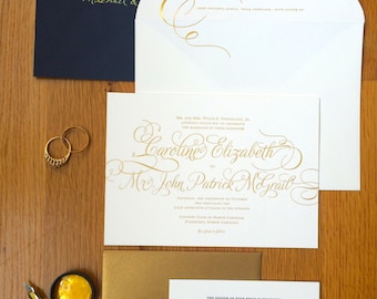 Gold Wedding Invitation Suite PRINTED SAMPLE -- Foil and Letterpress -- Calligraphy Simple Classic Modern Script -- pompdesigns