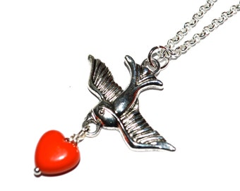 Swallow Necklace, Tattoo Style, Red Heart, Rockabilly Necklace, Tattoo Jewelry, Flying Swallow Charm, Old School Swallow, Rockabilly Style,
