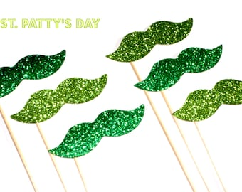St. Patrick's Day Glitter Mustache Collection - Set of 6 - Lime Green and Kelly Green Glitter Staches