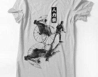 Jinrikisha Tshirt Japanese Rickshaw - Woman tee - cycle pulled rickshaw bike Hand Screenprinted