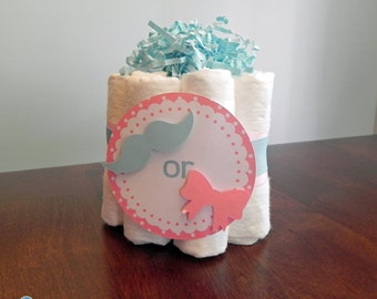 Gender Reveal Mini Diaper Cake - Baby Shower Gender Reveal gift or centerpiece mustache bow girl boy bow tie