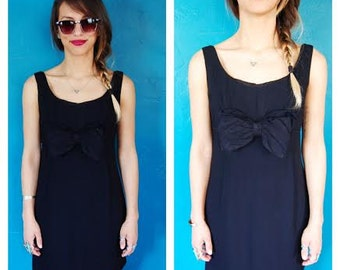 Vintage 80s Little Black Dress - Oversized Bow Kitchy Mini Dress - Size Extra Small / Small