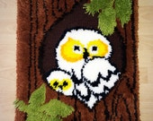 Vintage 70s Shag Rug Wall Hanging Groovy Hippie Hippy 1970s MCM Mad Men Eames Home Decor Cute Owl Mom & Baby in Tree Hand Hooked 3D Hi-Low