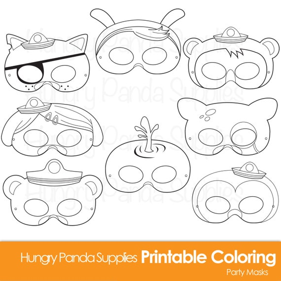 Printable Coloring Animal Masks : Animal heroes printable coloring masks bunny mask cartoon