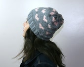 Valentine Light Grey Hat with Pink Hearts - Beret - Beanie - Fall Winter Fashion - Women Teens Accessories