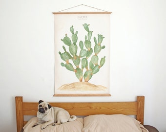 Cactus - Opuntia Jamaicensis - wall Poster print - plants and garden scientific illustration CAC1002